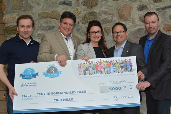 La Fondation Richelieu-International remet un don de 5 000 $ à la Fondation du Centre Normand-Léveillé